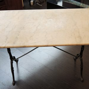 Table Vintage Style Bistrot En Marbre Et Métal