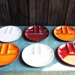 Service De 6 Assiettes À Fondue Vintage En Faïence