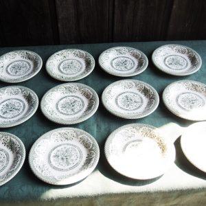 12 Assiettes À Dessert Anglaises Vintage Ironstone