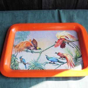 Petit Plateau Vintage En Métal Orange