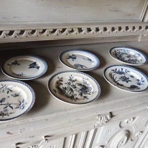 5 Assiettes Plates Vintage TERRE DE FEU