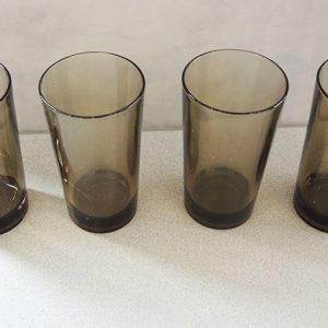 4 Verres À Soda Vintage En Verre Fumé