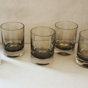 6 Verres À Whisky Vintage En Verre Fumé