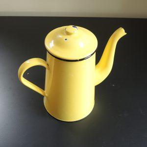 Cafetière Vintage En Email Jaune 10/12 Tasses