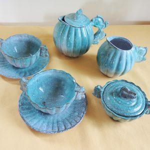 Service À Thé Vintage En Céramique Bleu – Signé
