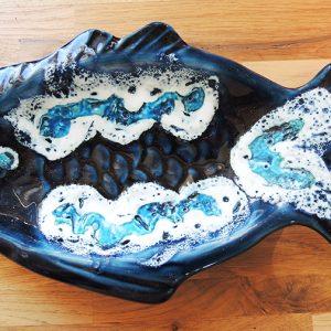 Coupelle Poisson Vintage En Céramique Bleue