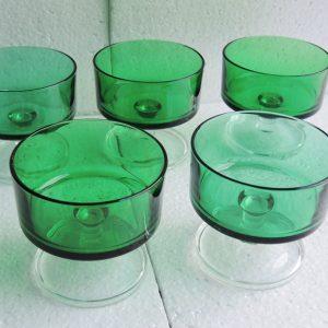 5 Coupes À Champagne Vintage Vertes Luminarc France