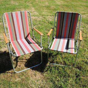 2 Chaises De Camping Vintage Motif Bayadère