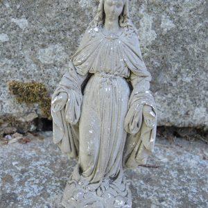 Statue Vintage En Pierre Sculptée : La Vierge Miraculeuse / Madonne