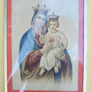 Reproduction Vintage Encadrée De La Vierge Avec L'Enfant Jesus