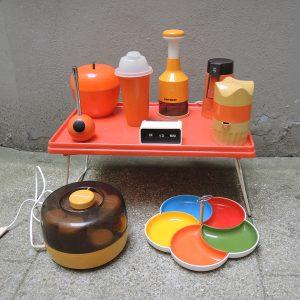 Plateau De Lit Vintage En Plastique Orange Années 70