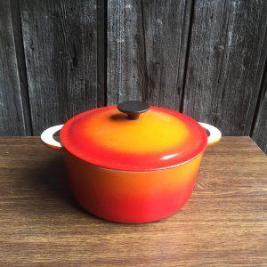 Marmite Cocotte Vintage En Fonte Orange
