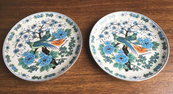paire-danciennes-assiettes-chinoises-paons-fleurs