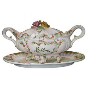 Grande Soupière Vintage En Céramique De Style Rococo