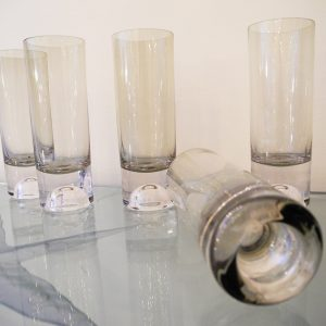 6 Verres Droits Vintage En Cristal Fumé