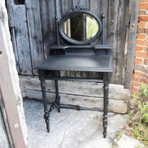 Coiffeuse / Table De Maquillage Vintage En Bois Noir