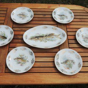 Service Vintage De 7 Assiettes À Poisson En Porcelaine