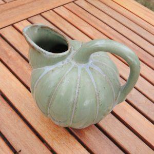 Pichet Citrouille Vintage En Céramique Verte