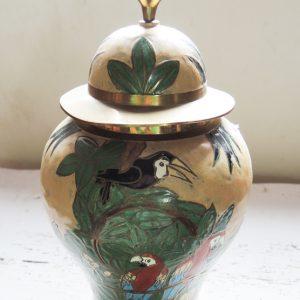 Pot Vintage En Laiton Emaillé À Décor D'Oiseaux