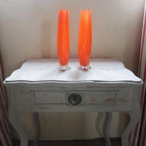Paire De Vases Vintage En Verre Orange Années 60/70