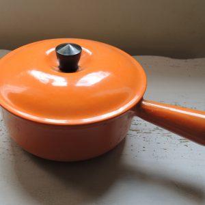 Poelon Vintage En Fonte Orange Emaillée « 18 »