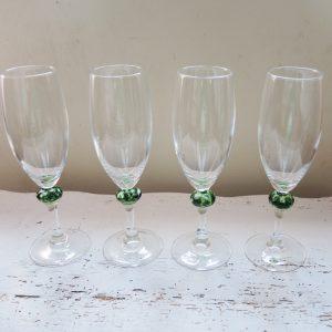 Flutes À Champagne Vintage Avec Décoration Verre Soufflé