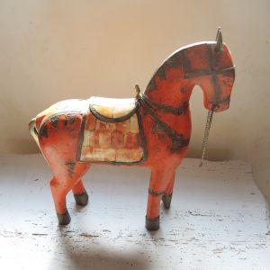 Cheval En Bois Sculpté Vintage/ Laiton & Nacre