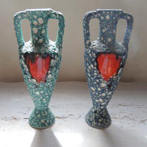 Paire De Vases Vintage Barbotine De Vallauris