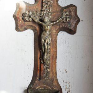 Crucifix Vintage Avec Bénitier En Bois & Laiton