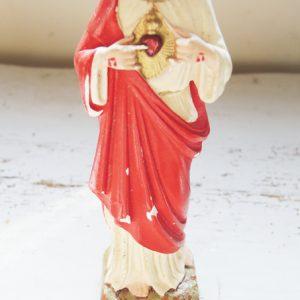 Statuette Vintage De Jesus Au Coeur Sacré