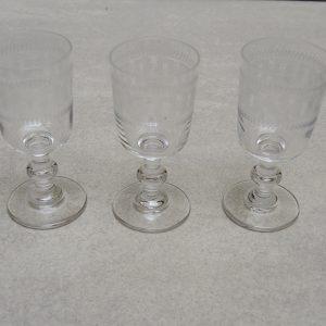 3 Verres À Goutte Vintage H 7,5 Cm