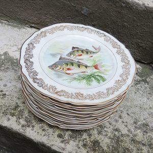 10 Assiettes À Poisson Viintage En Porcelaine De Limoges