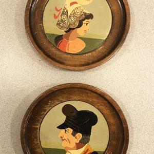 2 Mini Assiettes Vintage Décoratives En Bois