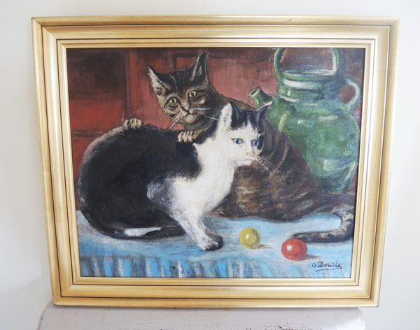tableau-ancien-huile-sur-toile-encadre-2-chats