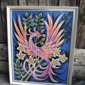 Tableau Canevas Encadré Vintage : Oiseau De Paradis