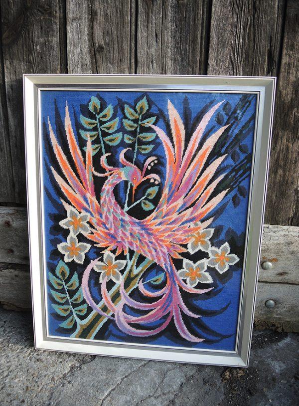 ancien-tableau-canevas-encadre-oiseau-de-paradis