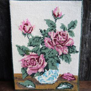 Tapisserie Vintage Canevas : Pot De Roses Roses