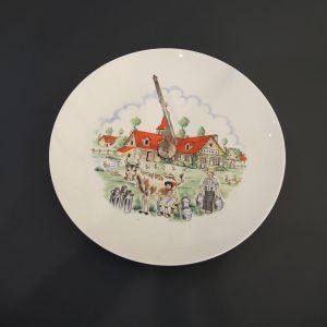 Plateau à Fromage Vintage en Porcelaine et Métal «La Laiterie»