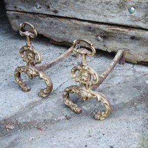 Chenets Vintage en Laiton Tête de Lion