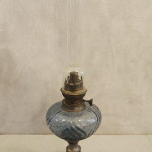 Lampe à Pétrole Vintage Verre Etain