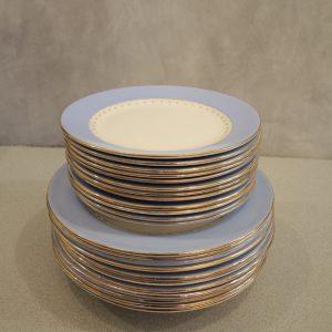 Service de Vaisselle Vintage en Porcelaine Bleu Lavande