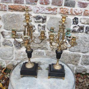 2 Bougeoirs Chandeliers Vintage en Laiton & Marbre