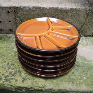 6 Assiettes Vintage À Fondue / Raclette En Faïence