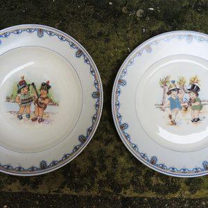 2 Assiettes Vintage Enfant En Porcelaine AHRENFELDT