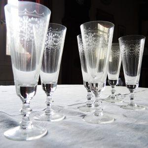 Flutes à Champagne Vintage en Cristal