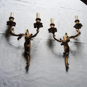 Paire d'Appliques en Bronze Style Rocaille