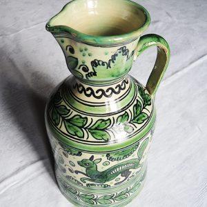 Grande Cruche Vintage Faïence Verte