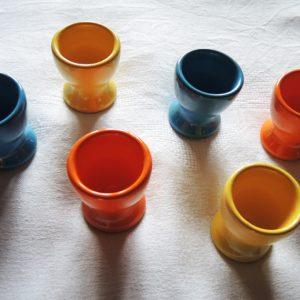 6 Coquetiers En Céramique 70s