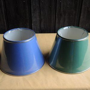 2 anciens abat-jour Vert (bande dorée) / Bleu (bande dorée) NEUFS D24,9 cm