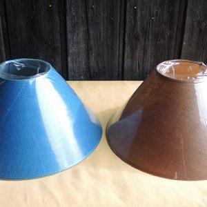 2 anciens abat-jour D 35,2cm NEUFS Bleu Canard / Marron Cuivré